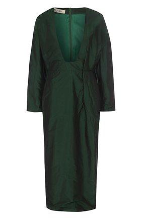 Шелковое платье-миди с глубоким V-образным вырезом Tata Naka зеленое | Фото №1