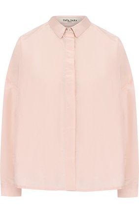 Однотонная шелковая блуза свободного кроя | Фото №1