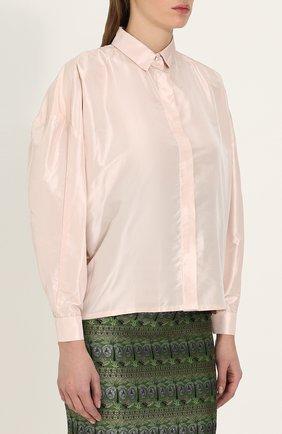 Однотонная шелковая блуза свободного кроя | Фото №3
