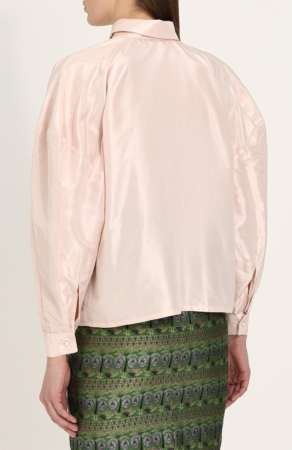 Однотонная шелковая блуза свободного кроя | Фото №4