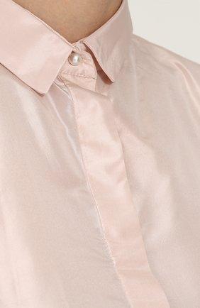Однотонная шелковая блуза свободного кроя | Фото №5