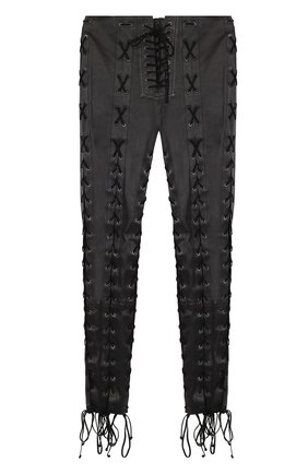 Кожаные брюки-скинни со шнуровкой   Фото №1