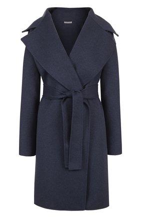 Кашемировое однотонное пальто с поясом | Фото №1