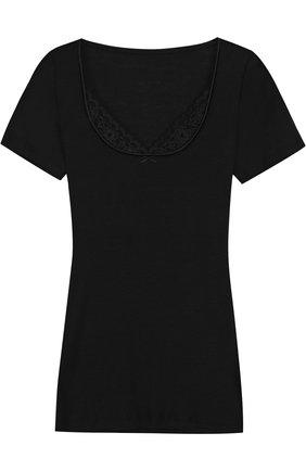 Облегающая футболка с кружевной отделкой | Фото №1
