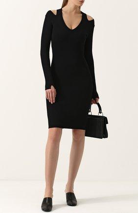 Вязаное платье-футляр с V-образным вырезом The Row черное | Фото №1