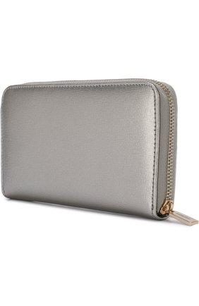 Кожаный кошелек на молнии с логотипом бренда Coccinelle серебряного цвета | Фото №2