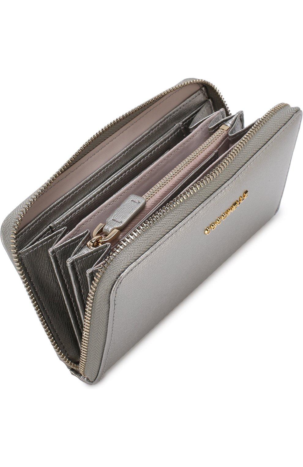 Кожаный кошелек на молнии с логотипом бренда Coccinelle серебряного цвета | Фото №3