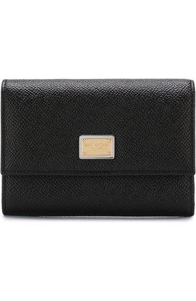 Женские кожаный кошелек DOLCE & GABBANA черного цвета, арт. BI0924/A1001 | Фото 1