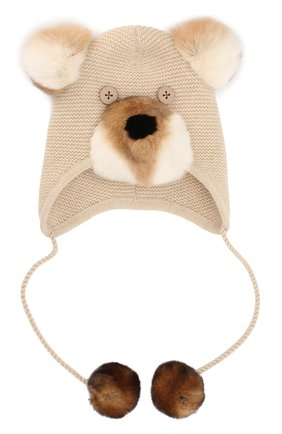 Кашемировая шапка с меховым декором | Фото №1