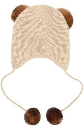 Кашемировая шапка с меховым декором | Фото №2