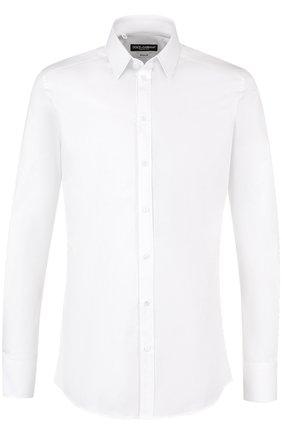 Мужская хлопковая сорочка с воротником кент DOLCE & GABBANA белого цвета, арт. G5EJ0T/FUEAJ | Фото 1
