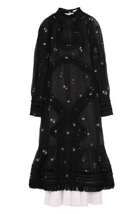 Приталенное платье-миди с объемными рукавами Erdem черное | Фото №1