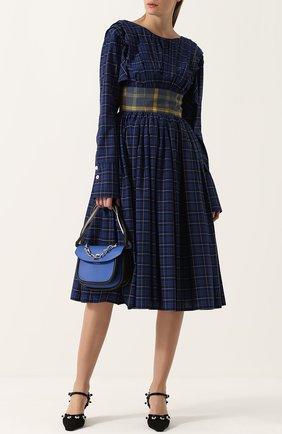 Хлопковое приталенное платье-миди в клетку Natasha Zinko синее   Фото №1