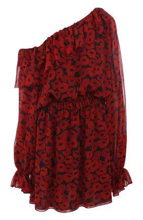 Приталенное шелковое мини-платье с открытым плечом