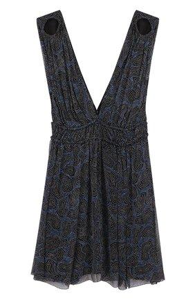 Приталенное шелковое мини-платье с глубоким V-образным вырезом | Фото №1