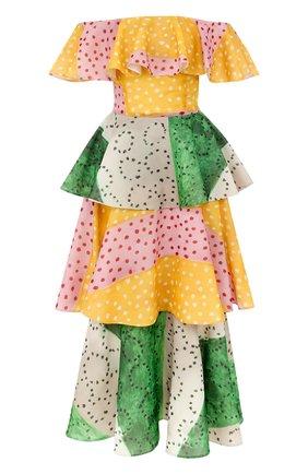 Шелковое многоярусное платье-миди с открытыми плечами | Фото №1
