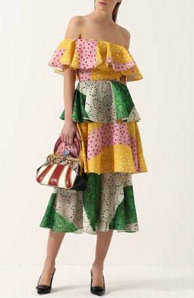 Шелковое многоярусное платье-миди с открытыми плечами Tata Naka разноцветное | Фото №1
