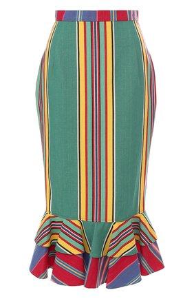 Хлопковая юбка-карандаш с оборками | Фото №1