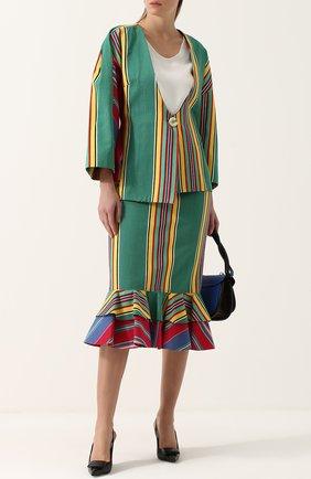 Хлопковая юбка-карандаш с оборками Tata Naka разноцветная | Фото №1