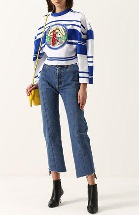 Укороченный пуловер с круглым вырезом Tata Naka синий | Фото №1