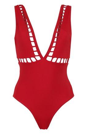 Слитный купальник с перфорацией OYE красный | Фото №1