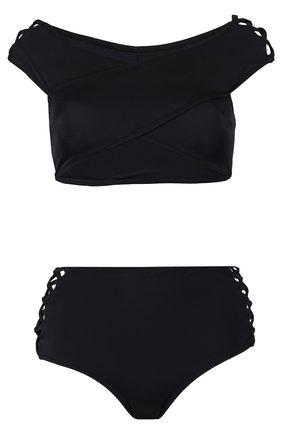 Однотонный раздельный купальник со шнуровкой OYE черный | Фото №1