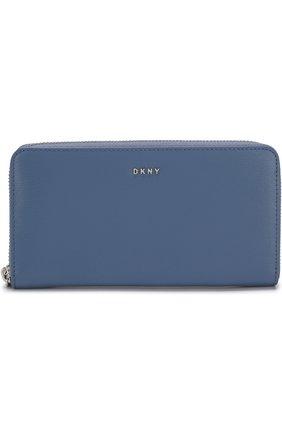 Кожаный кошелек на молнии с логотипом бренда DKNY голубого цвета | Фото №1