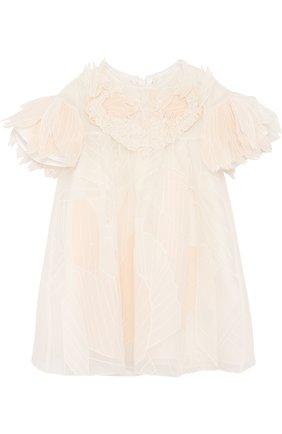 Шелковое платье свободного кроя с фактурной отделкой | Фото №1