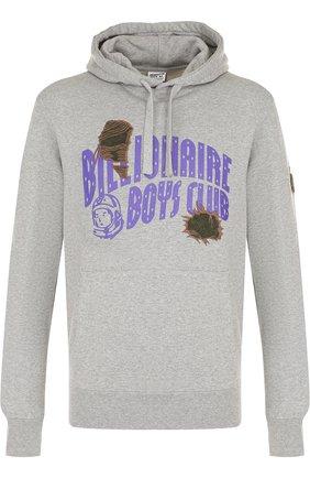 Хлопковое худи с принтом и нашивками Billionaire Boys Club серый | Фото №1