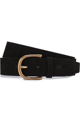 Мужской кожаный ремень с металлической пряжкой TOM FORD черного цвета, арт. 118TB210M-CF3 | Фото 1