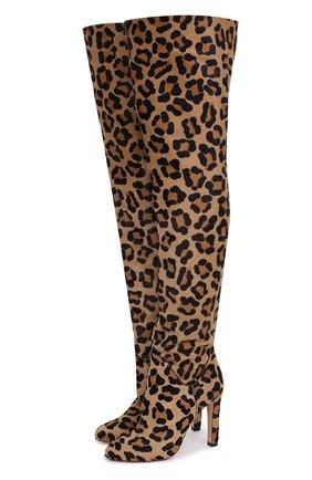 Ботфорты с отделкой из меха на устойчивом каблуке Francesco Russo леопардовые | Фото №1