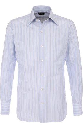Мужская хлопковая сорочка с воротником кент TOM FORD светло-голубого цвета, арт. 2FT604/94S1JE | Фото 1