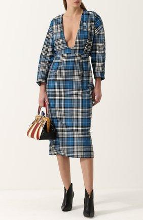 Шерстяное платье-миди в клетку с глубоким вырезом Tata Naka синее | Фото №1