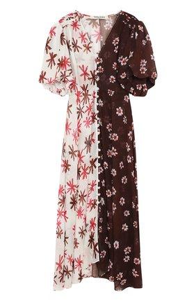 Приталенное шелковое платье-миди с принтом | Фото №1
