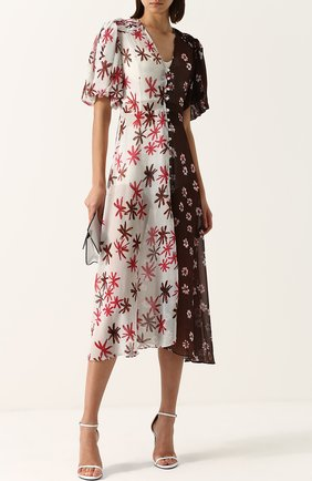 Приталенное шелковое платье-миди с принтом Tata Naka разноцветное | Фото №1