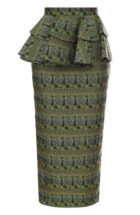 Жаккардовая юбка-карандаш с оборками Tata Naka зеленая | Фото №1