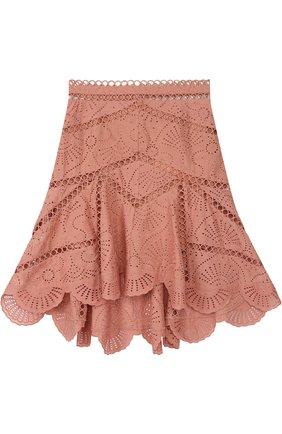 Кружевная юбка-миди асимметричного кроя Zimmermann розовая | Фото №1