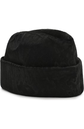 Шапка с отворотом из меха каракульчи FurLand черного цвета | Фото №1