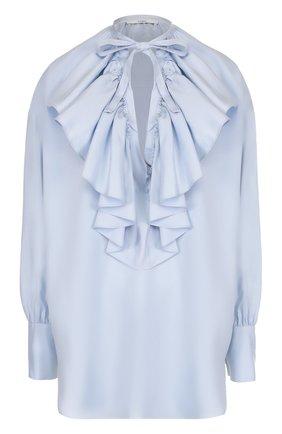 Шелковая блуза свободного кроя с оборками | Фото №1