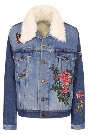 Джинсовая куртка с подкладкой из овчины и контрастной вышивкой AS65 голубая | Фото №1