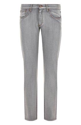 Мужские джинсы прямого кроя с потертостями GIORGIO ARMANI серого цвета, арт. 3ZSJ50/SD51Z | Фото 1