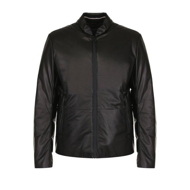 Кожаный пуховик на молнии с карманами Giorgio Armani