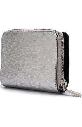 Кожаный кошелек с логотипом бренда DKNY серебряного цвета | Фото №1