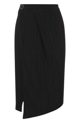 Плиссированная юбка-миди с высоким разрезом Mugler черная | Фото №1