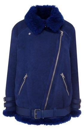 Укороченная дубленка с косой молнией Acne Studios синяя | Фото №1
