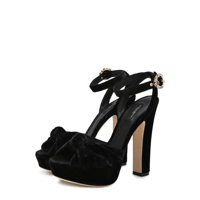 Бархатные босоножки Bianca на устойчивом каблуке Dolce & Gabbana