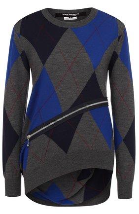 Шерстяной пуловер асимметричного кроя с круглым вырезом Junya Watanabe серый | Фото №1