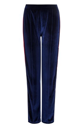 Бархатные брюки прямого кроя с контрастными лампасами   Фото №1