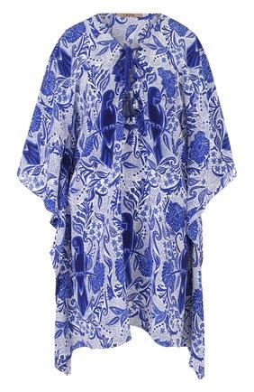 Женская шелковая туника свободного кроя с принтом LAZUL синего цвета, арт. AELIA TUNIC/0RI | Фото 1