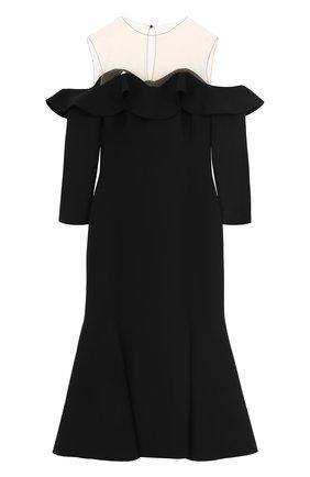 Шерстяное платье-миди с оборками и укороченным рукавом   Фото №1